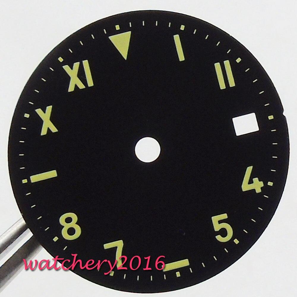 4f640e14fbe Novo 28.5 milímetros Preto 82 Estéril Mostrador do Relógio fit 2824 2836  Miyota movimento do Relógio Dos Homens