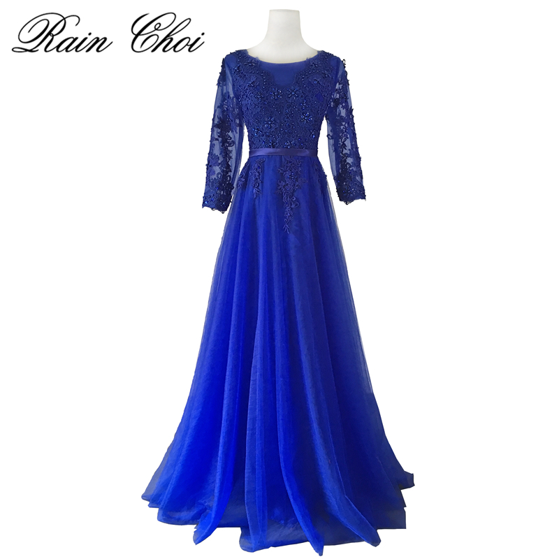 Sexy Lace Royal Blue Bridesmaids Dresses 2019 Three Quarter Sleeves Beaded Long Bridesmaid Dress Formal Maid Of Honor Plus Size