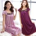 Mulheres pijamas nightgowns Sexy Floral das Mulheres camisola de seda Robe Sleepshirts plus mulheres nightdress roupão noite vestido