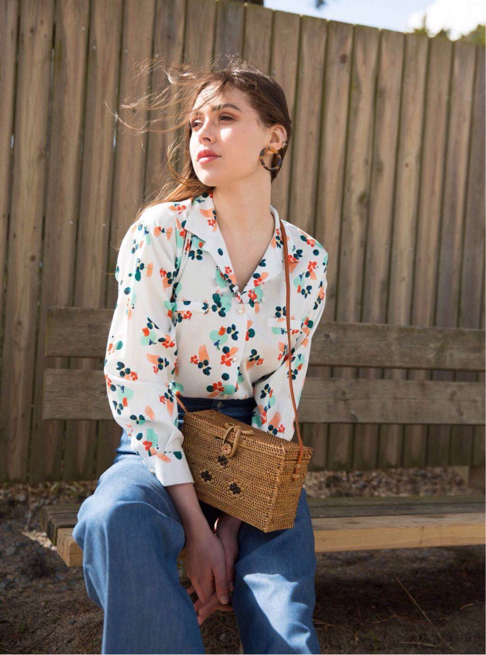 Swallows notched collar shirt crisp floral printing long sleeves French shirt