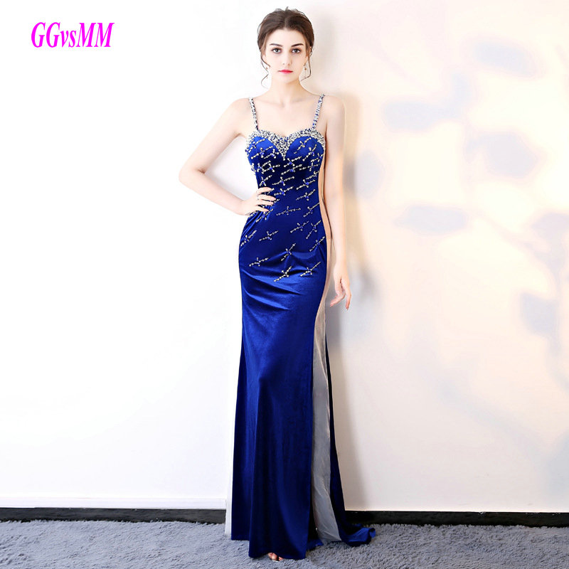Natural Simple Elegant 2018 Blue Bridesmaid Dresses With: Elegant Royal Blue Formal Evening Gowns 2018 Sexy Mermaid