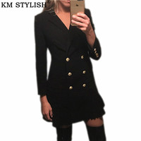 Europe and America 2019 Women's New Classic Double breasted lion buckle pleated hem Slim black and white suit dress