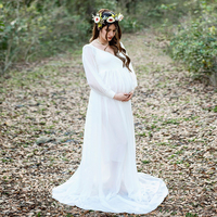 D&J Chiffon Maternity Dress Pregnancy Clothes Pregnant Women Long Sleeve Wedding Party Gown Pregnant Dresses For Photo Shoot