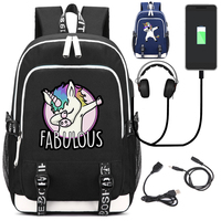 Funny Unicorn Dab Backpack with USB Charging Port and Lock &Headphone