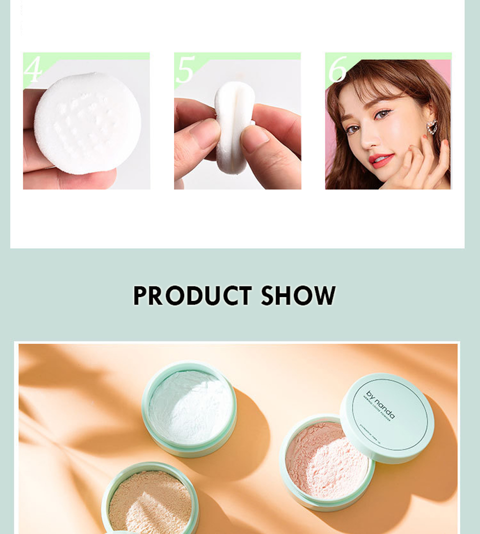 BY NANDA 3 Color Translucent Pressed Powder With Puff Smooth Face Makeup Foundation Waterproof Loose Powder 11