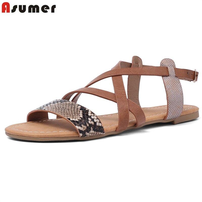 Einfach Asumer Große Größe 36-50 Neue Sandalen Frauen Casual Flache Schuhe Komfortable Slip Auf Damen Schuhe Freizeit Frauen Flache Sandalen Weiblichen