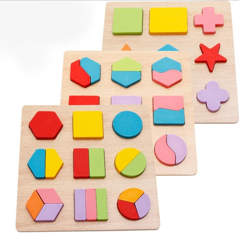 Grand Géométrique Enfants Puzzle En Bois Jouets Forme Correspondant Géométrie Jigsaw Puzzle Enfants Éducatifs En Bois Jouets En Bois Pour Enfants
