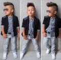 TZ339 Случайные Комплектов Одежды Мальчик джентльмен костюм Малыш Мальчик Одежда Набор 3 шт. Пальто + с длинным рукавом + брюки дети мальчик комплект одежды