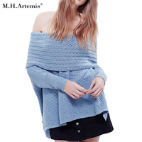 M H Artemis Off Shoulder Sweater Women Warm Oversized Top Fashion Autumn Winter Loose Jumper Sexy