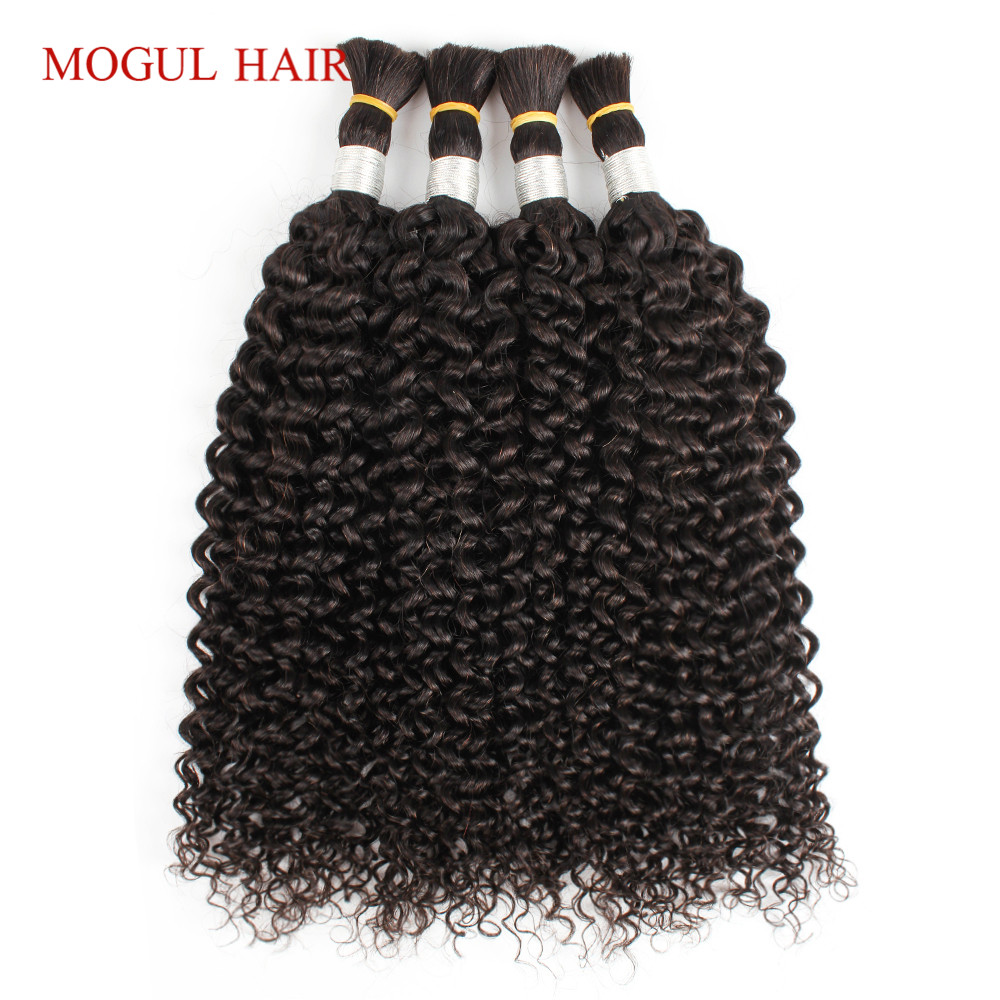 Mogul Hair Jerry Curly Hair Bulk Natural Color Indian Remy Human Hair Extensions 4 Bundles Dark