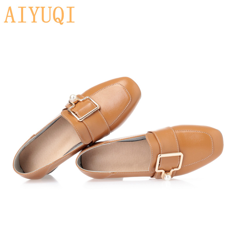 AIYUQI Womens shoes high heels 2019 new genuine leather women designer fashion Spring square head shoes women Hot trendy shoes in Women 39 s Pumps from Shoes