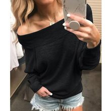 Solid Women Blouses Sexy Long Sleeve Shirts Off Shoulder Top Blouse 2018 Autumn Shirt Female Tops Blouses Loose Tunic Tops(China)