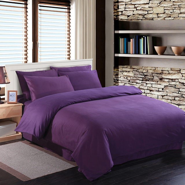 Deep purple bedding set duvet quilt cover king size queen full