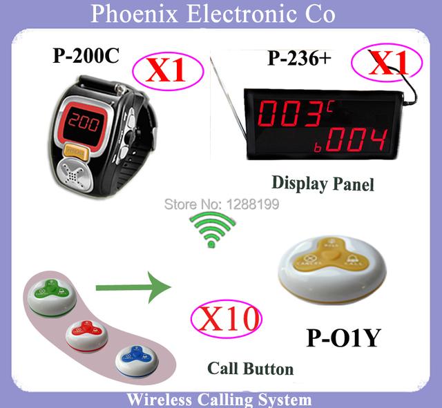 Inalámbrico Sistema Receptor O Sistemas Zumbador Restaurante del Hotel Con El Invitado reloj Y Panel de Botones 1 Receptor 1 Reloj de Pulsera 10 campanas