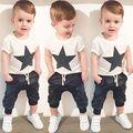 2016 estilo verão bebê menino roupas de algodão de moda bebê menina conjunto de roupas casuais de manga curta impressa t-shirt + calças 2 pcs conjuntos