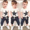 2016 summer style baby boy clothes fashion cotton baby girl clothing set casual short sleeved printed t-shirt+pants 2pcs sets