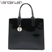 VANDERWAH Brand Glossy Big Tote women bags High Quality Women's PU Leather Handbags Letter Shoulder Crossbody Bag Messenger Bags