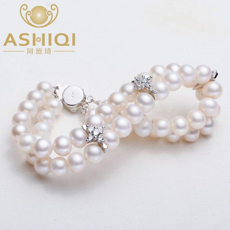 Armbänder & Armreifen Gerade Ashiqi Echt 6-7mm Weiß Natürliche Süßwasser Perle Armbänder 2-reihe Schmuck Für Frauen Hochzeit