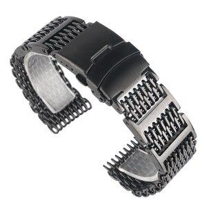 Image 4 - 20/22/24mm fajne wyjątkową siatka rekina Watchband czarny zegarek na rękę pasek pasek luksusowe solidna Link wymiany ze stali nierdzewnej