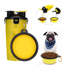 Portable 2 in 1 Pet Food Water feeder Outdoor Travel Dual Purpose Food Container With 2 Folding Silicone Bowls Dog Feeder Cup montage pro feeder 2