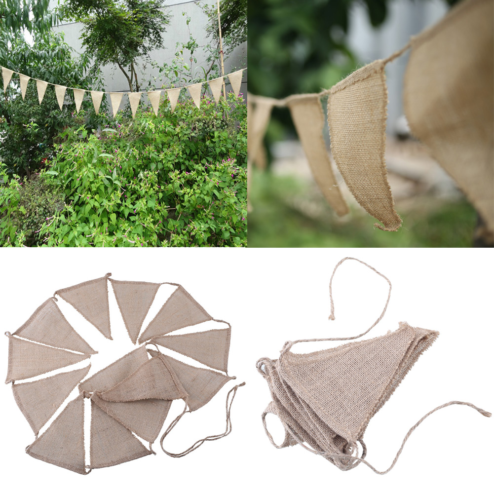 3m vintage hessian bunting wedding decoration party. Black Bedroom Furniture Sets. Home Design Ideas
