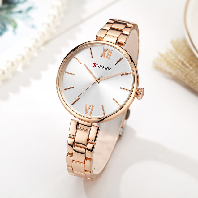CURREN 9017 New Women Watches Luxury Brand Watch Rose Gold Women Quartz Clock Creative Wood Pattern Dial Fashion Wristwatch 2