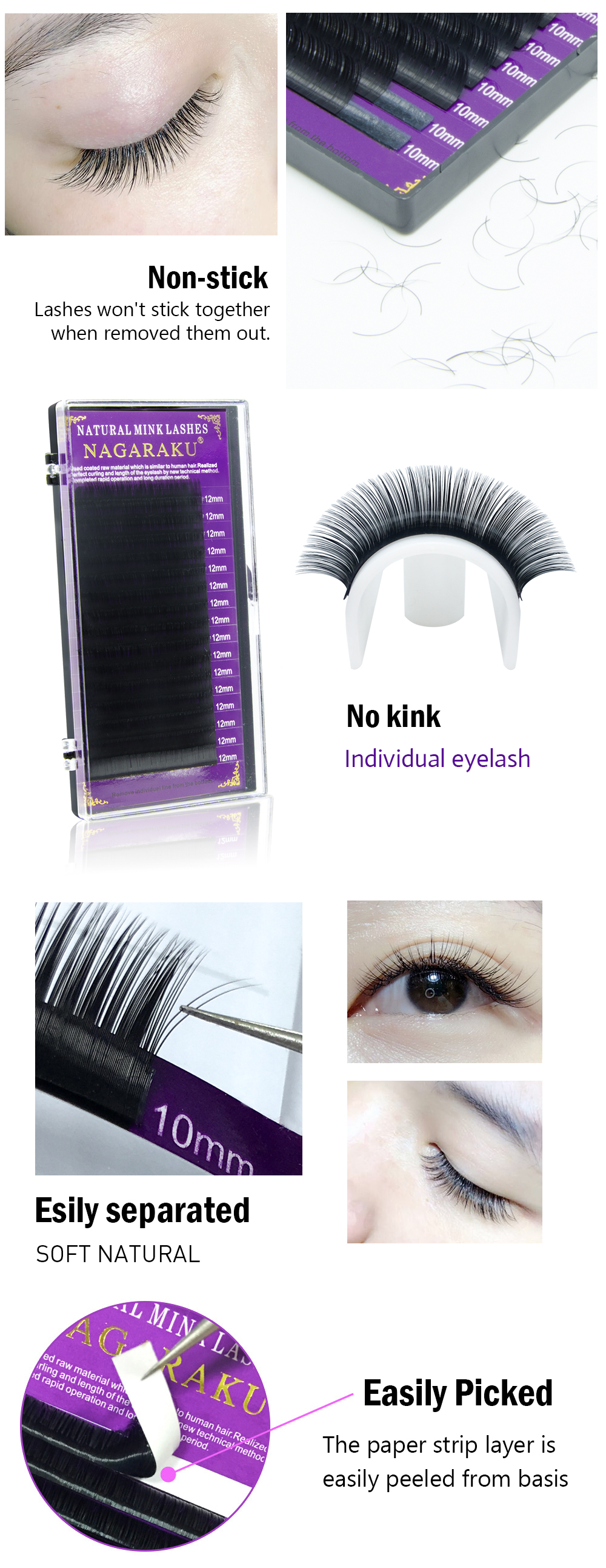 7c15ec02c1f Generic NAGARAKU 10 cases/lot High quality mink eyelash extension ...