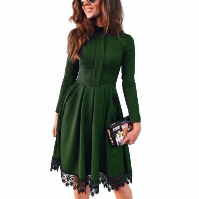 Stand Fashion Herfst Kraag Green Lijn Jurk Lace Vrouwen A Stiksels 5R3ALqj4