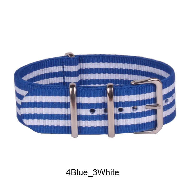 """חם נשים גבר 22 מ""""מ חזק כחול לבן מקרית צבא הצבאי להקות בד נאט""""ו ניילון שעונים רצועות ארוגים רצועת השעון אבזם חגורת 22 מ""""מ"""