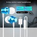 -Tipo C Alumínio Fones De Ouvido In-line Controle Fones De Ouvido Fone De Ouvido baixo Forte 100 cm para TYPE-C interface de fone de ouvido para esporte