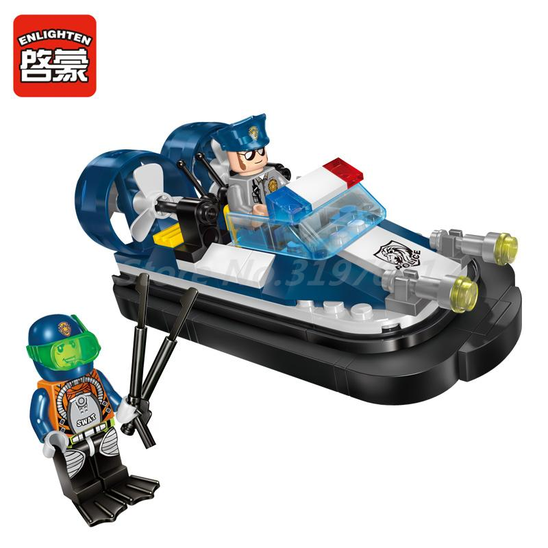 Enlighten 1903 Building Block City Police Launch Motorboat 2 Figures 98pcs MOC Educational Bricks Toys For Kids Christmas Gift