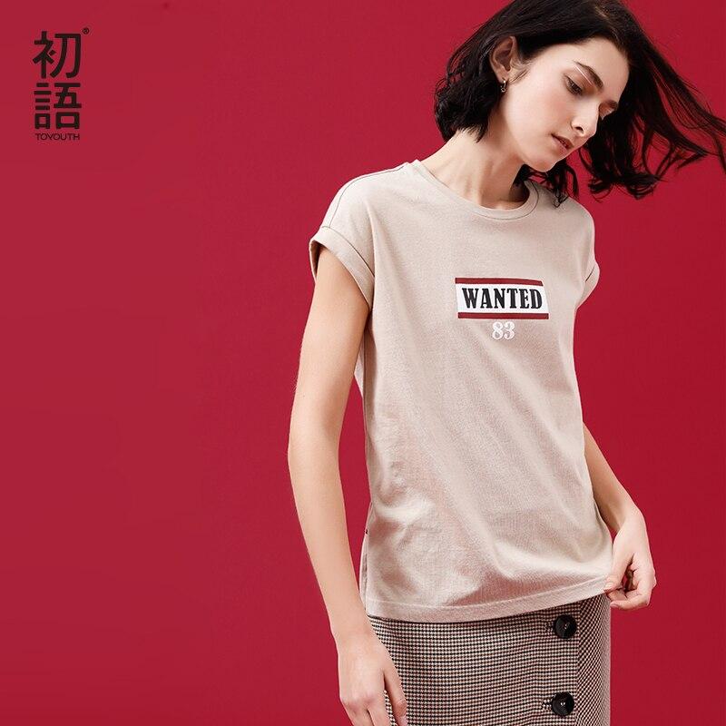 Toyouth Harajuku Girocollo Lettera Della Stampa di Cotone T-Shirt Per Le Donne di Estate Maniche Corte Magliette e camicette Allentato Streetwear Haut Femme