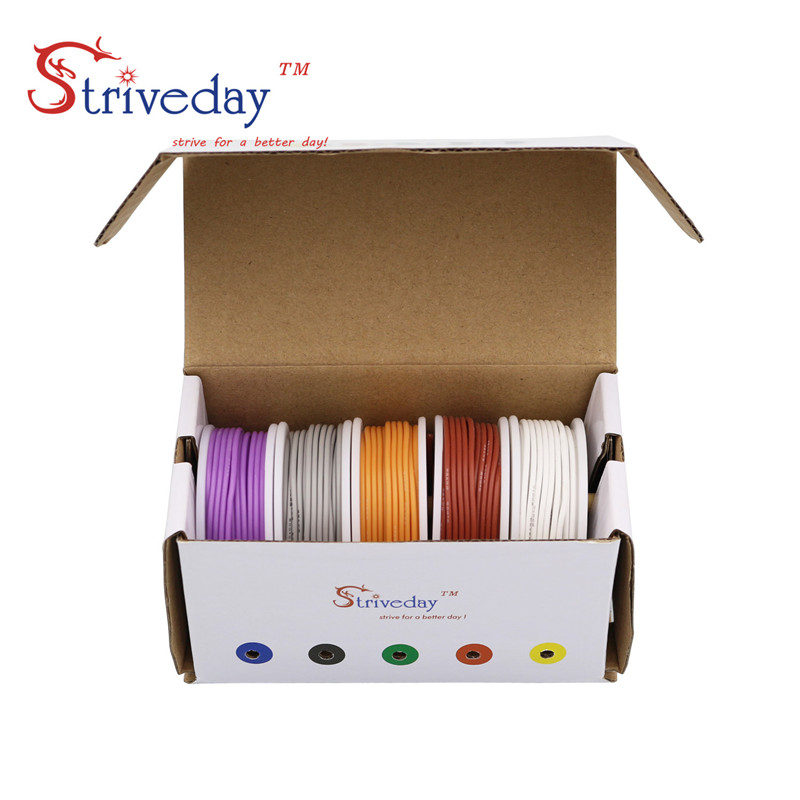 Image 4 - 20AWG 30m/box  Flexible Silicone Cable Wire 5 color Mix box 1 box 2 package Tinned Copper stranded wire Electrical Wires DIY-in Wires & Cables from Lights & Lighting