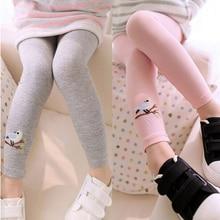 Новые обтягивающие штаны для маленьких девочек теплые леггинсы брюки стрейч с рисунком птицы для девочек