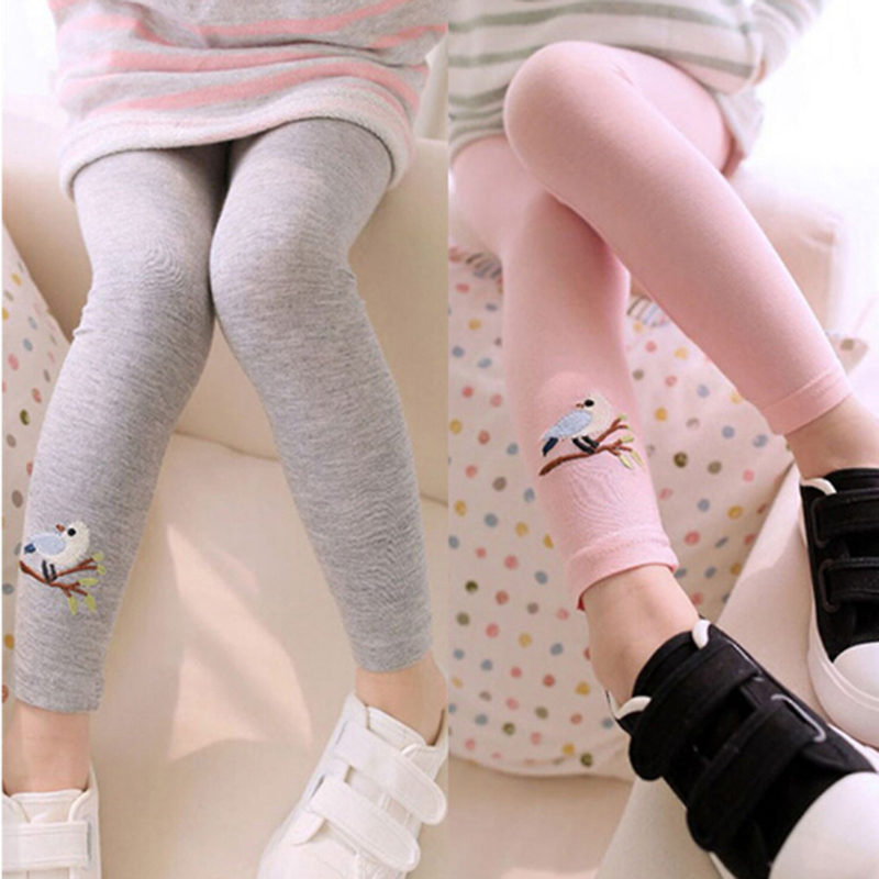 New Toddler Baby Girls Kids Skinny Pants Warm Leggings Girl Bird Pattern Stretchy Pants Trousers Hot stripe side skinny pants