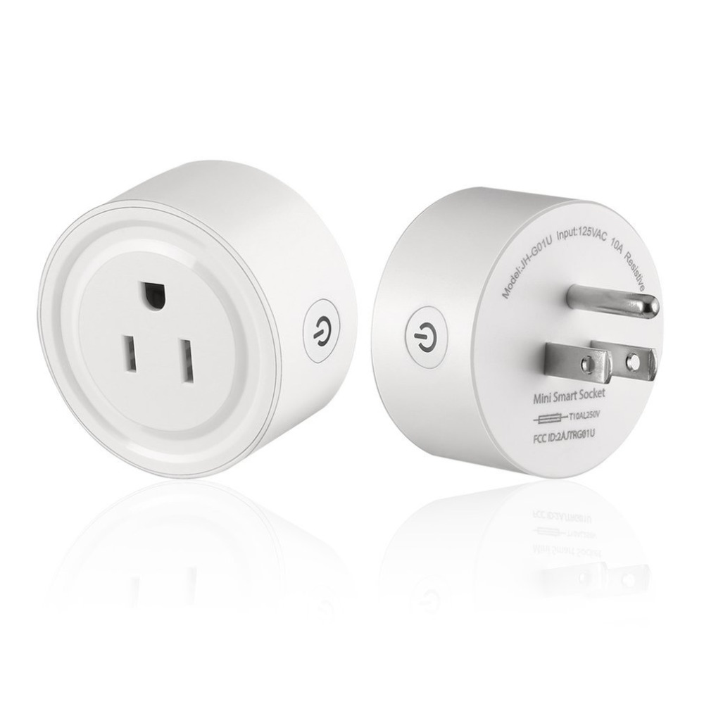 2PCS/SET Round Shape Smart Socket Wireless WiFi Power Plug APP Remote Control Timing Switch Socket for Home Automation System2PCS/SET Round Shape Smart Socket Wireless WiFi Power Plug APP Remote Control Timing Switch Socket for Home Automation System