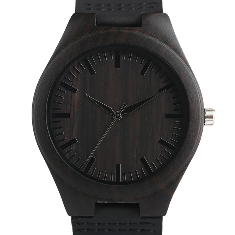 Top Men's Wooden Watches High Quality Black Handmade Natural Wood Bamboo Quartz-watch No Number Face Chic Second Hand Clock Male high quality minimalism elegant ladies quartz wristwatch hand made full wooden bamboo simplel small watchband wood watch female