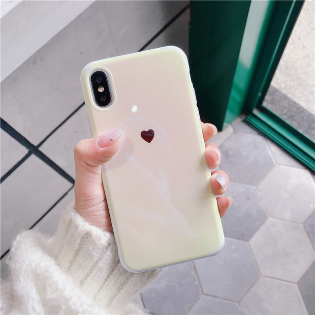 For iphone X XR XS XS Max Blue ray Laser Love Heart Soft silicon Mirror case for iphone 6 6s 7 8 plus back cover