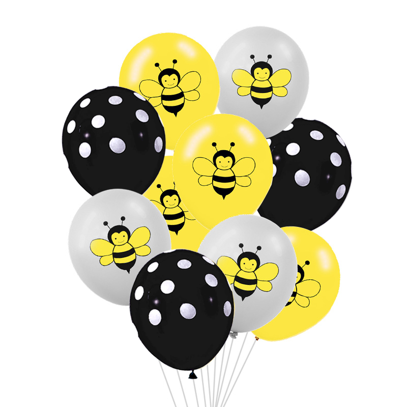 10/15pcs Gray Yellow 12inch Cute Animal Bee Latex Air Balloon For Wedding Birthday Party Baby Shower Decor Kids Toy Gift