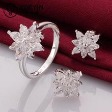 S750 Fine Jewelry joyas de plata Silver jewelry Ring+Stud Ear African Beads Jewelry Set Women Wedding Accessories