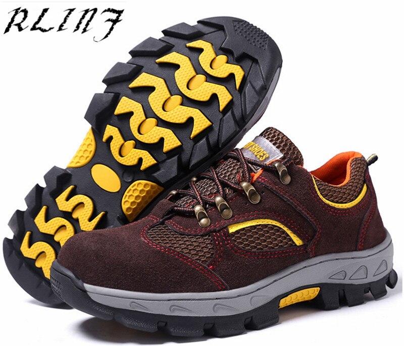 Verão cinza Outono Respirável resistente facada Preto ácaro E Biqueira Segurança Sapatos Anti Site marrom Do Rlinf Anti Primavera De Aço WxBnpqHI