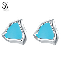 SA SILVERAGE Sterling-silver-jewelry Stud earrings for Women Small Blue Crystal Earrings boucle d'oreille femme Gifts