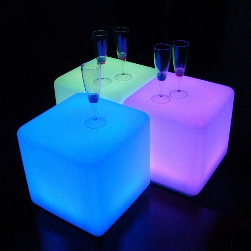 40x40x40 Cm Led Kubus Licht Lichtgevende Meubels Afstandsbediening 16-kleur Led Cubic Kruk Lamp Voor Outdoor Indoor Night Party Decor Stevige Constructie