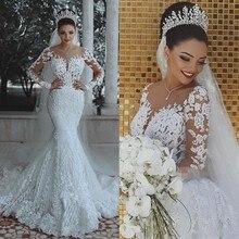 Vestido de noiva Dài Tay Áo Nàng Tiên Cá Váy Cưới Lãng Mạn Xem Qua Ren Sheer robe de mariee Custom Arabian Cô Dâu Dresses