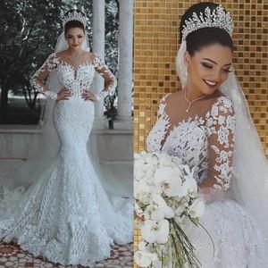 Image 1 - Vestido דה noiva ארוך שרוולי בת ים רומנטי לראות דרך תחרה Sheer robe דה mariee Custom ערב הכלה שמלות