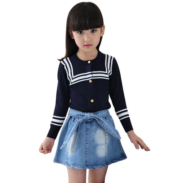 Nuevo Suéter de Los Niños Chaqueta de Punto Para Niñas Moda Azul Marino A Rayas Suéteres de Algodón Kniited Trui Meisjes Outwear Chica Pullover Camisa