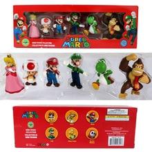 3-5 см Super Mario Bros Peach PrincessDaisy Toad Марио Луиджи Йоши Ослик Конг ПВХ фигурка игрушки куклы 6 шт./компл. Новинка в коробке