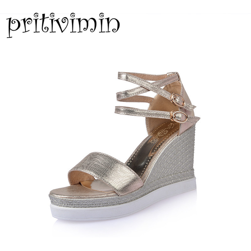 2016 fashion women summer heels sandals ladies peep open toe ankle strappy wedges gold silver evening leather platform shoes Q21 phyanic 2017 gladiator sandals gold silver shoes woman summer platform wedges glitters creepers casual women shoes phy3323