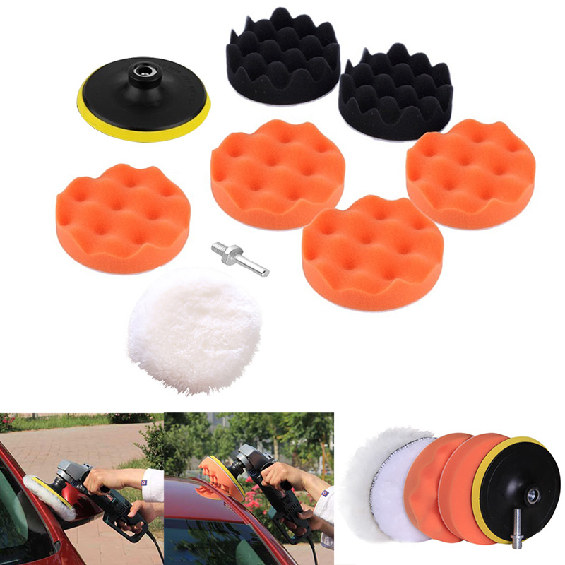 9pcs/ Set M10 Drill Adapter Thread Pad Polishing Sponge Pad Waxing Kit For Car Auto Polisher DXY88