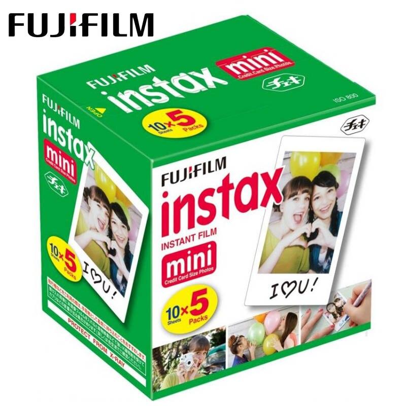 50 feuilles Fujifilm Instax Mini 9 Film Blanc Bord Papiers Photo Pour caméra polaroid Film Mini 8 7 s 90 25 55 SP-2 Appareil Photo Instantané